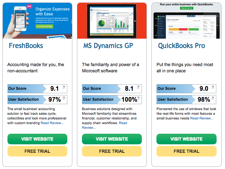 Freshbooks displayed as a suggested alternative for another product