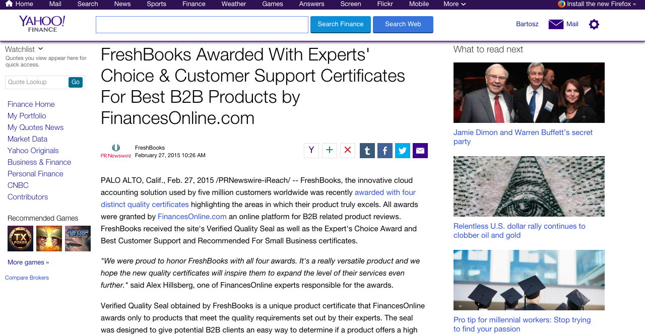 Here's our media release about FreshBooks achievements published on Yahoo! Finance.