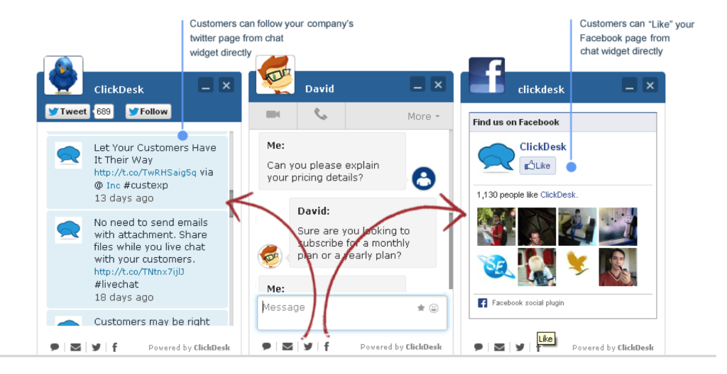 The social media plugins are neatly located right inside the chat window.