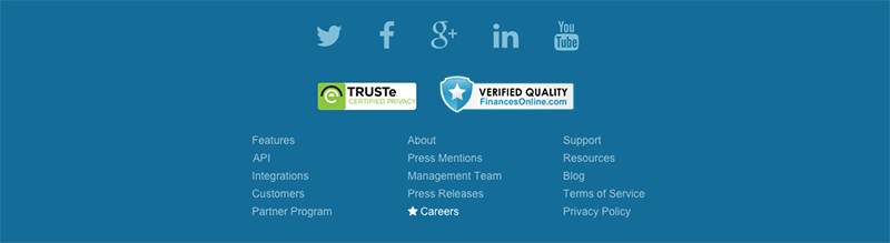 Trust seals used in your footer can give you a nice boost to overal credibility of your website.