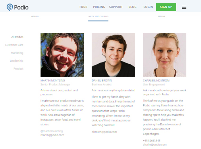 Podio displays faces of its team to cozy up with visitors.