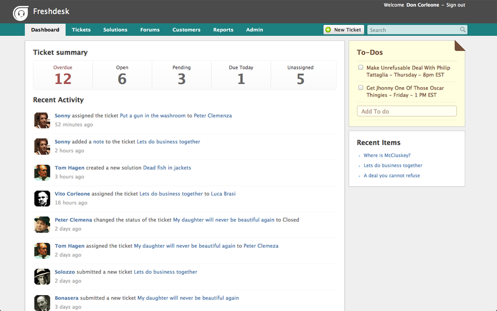 Here's how part of Freshdesk UI looks like
