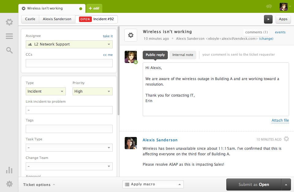 Overview of Zendesk interface