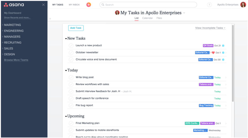 An overview of Asana interface
