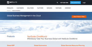 Netsuite OneWorld screenshot