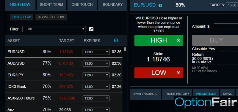 Binary brokers with option builder