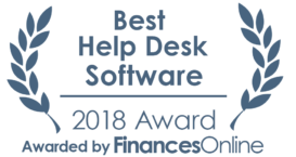 This award is given to the best product in our help desk software category. It highlights its superior quality and underlines the fact that it's a leader on the market.