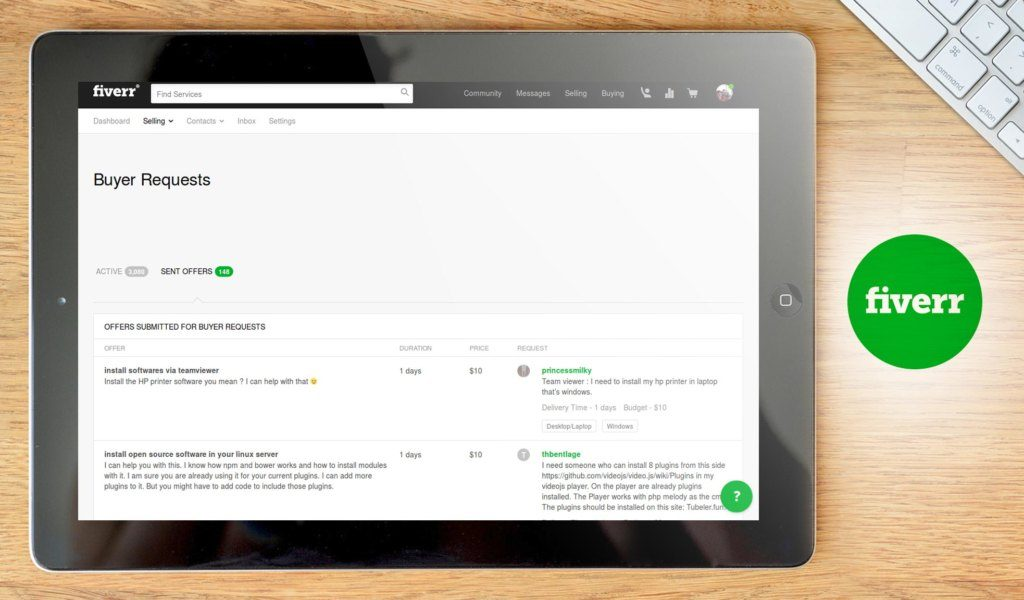 Fiverr dashboard example