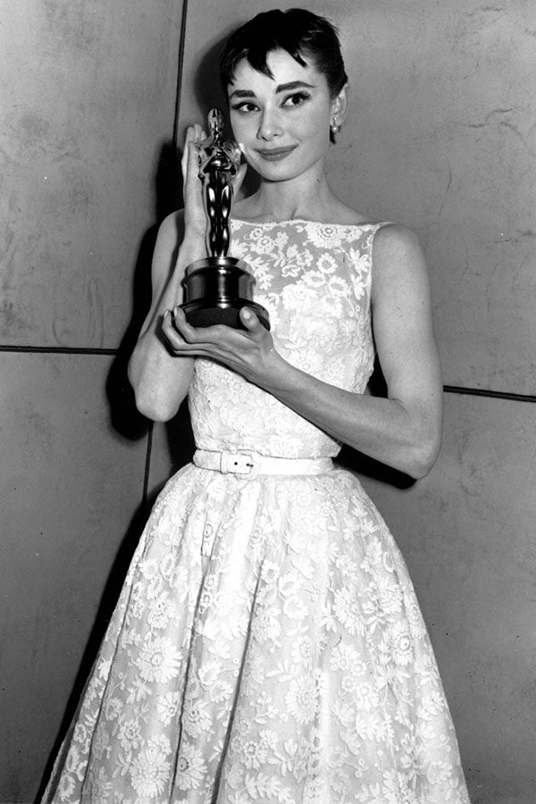 Audrey hepburn dress white and gold